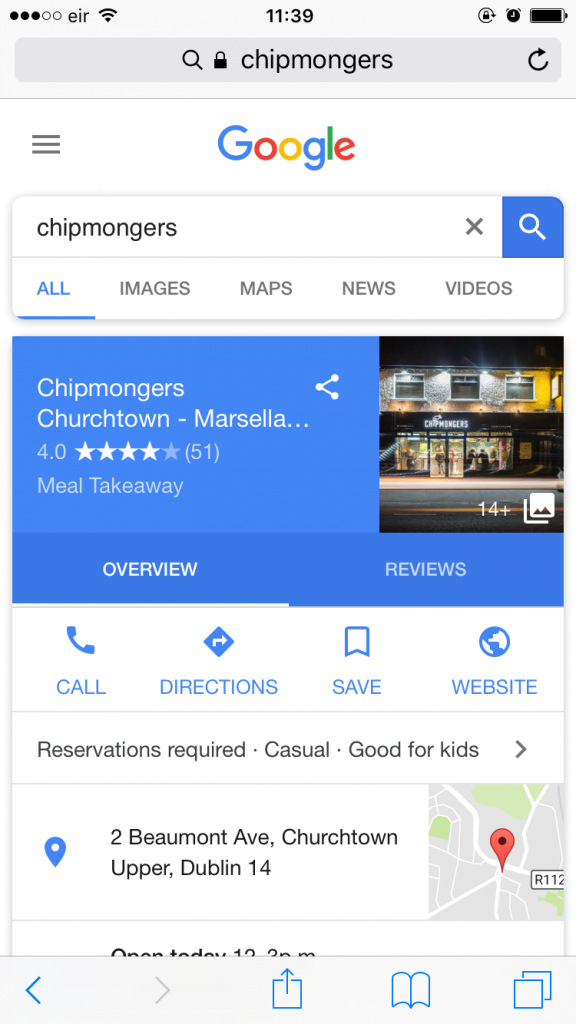 mobile google search my takeaway business
