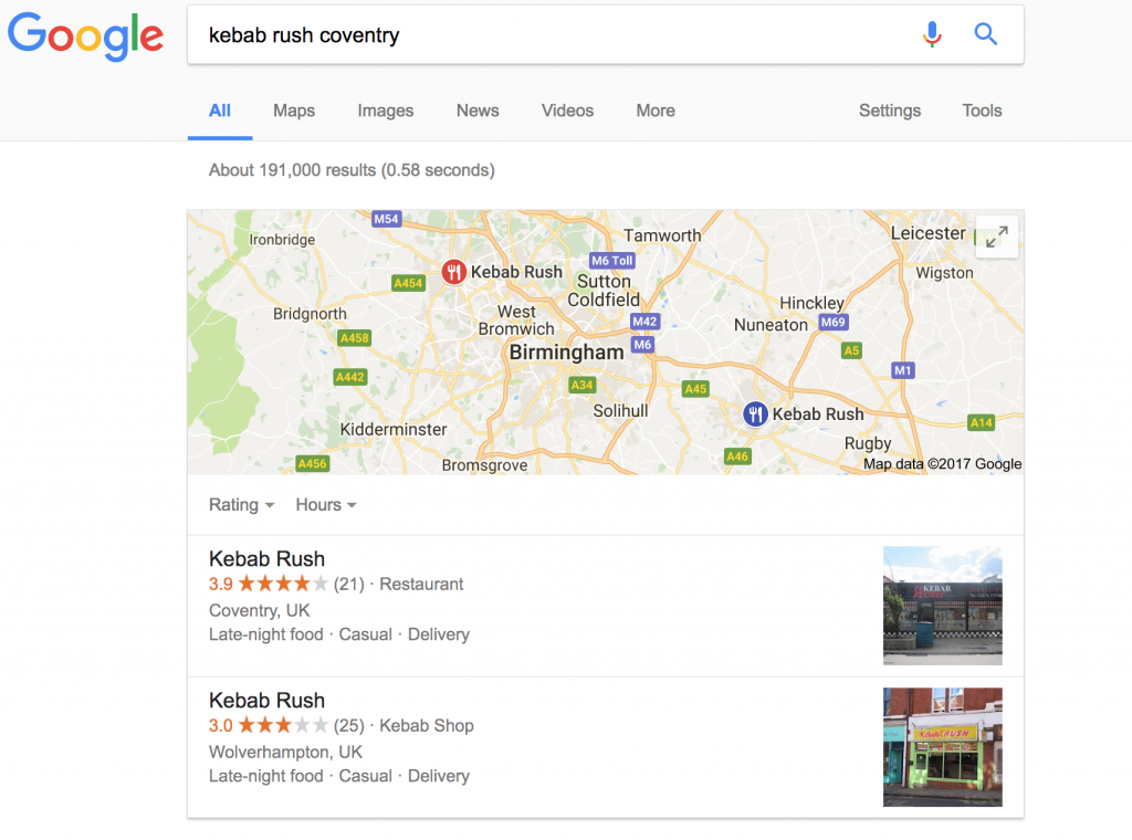 claim my takeaway business on google