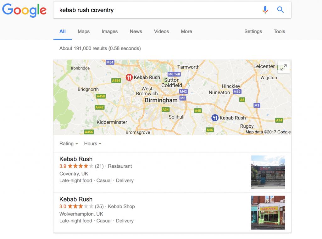 claim my takeaway business on google