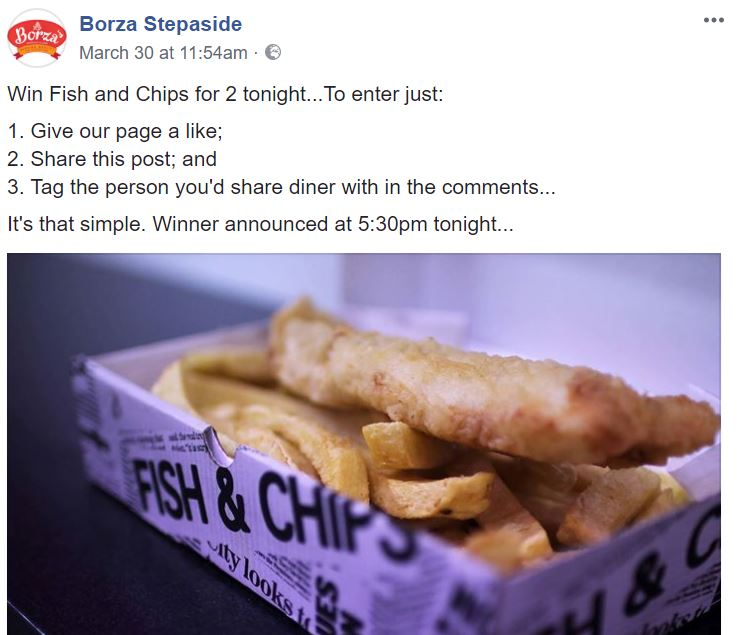 Photo of Fish and Chips used by Takeaway doing Facebook Marketing