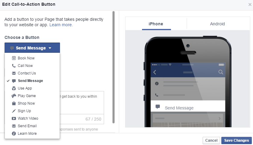 Facbook Call To Action button drop down page