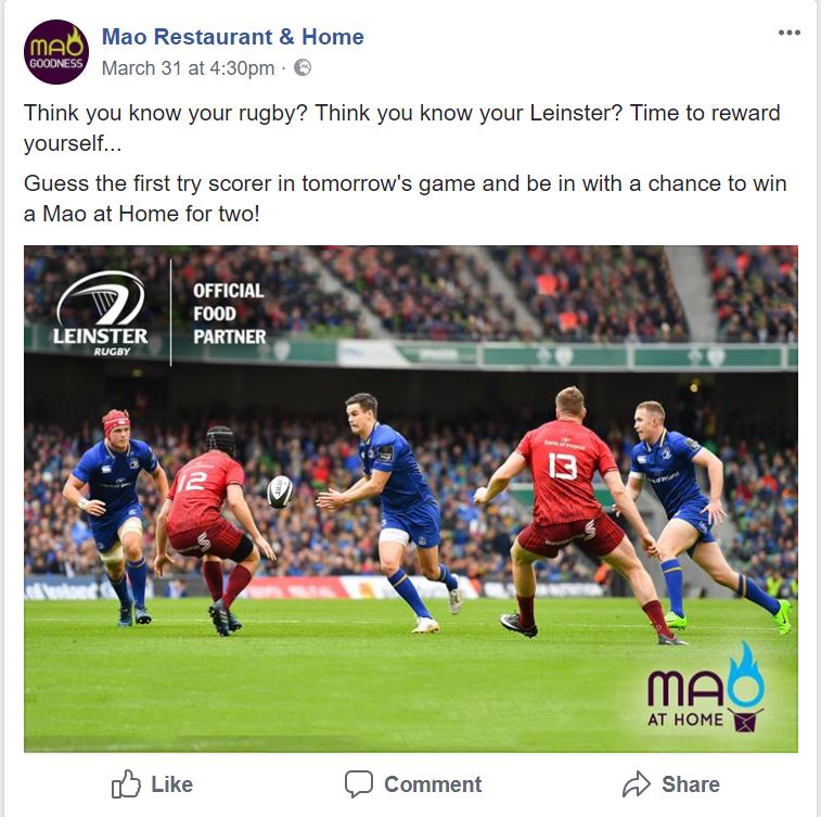 Screenshot of Mao Restaurant Promoting Rugby to Increase Online Orders
