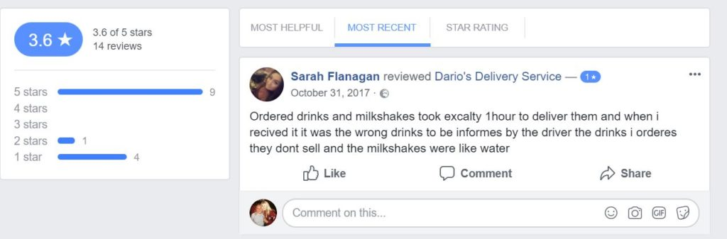 Screenshot of Facebook Reviews for Restaurant that Increased online orders on Facebook