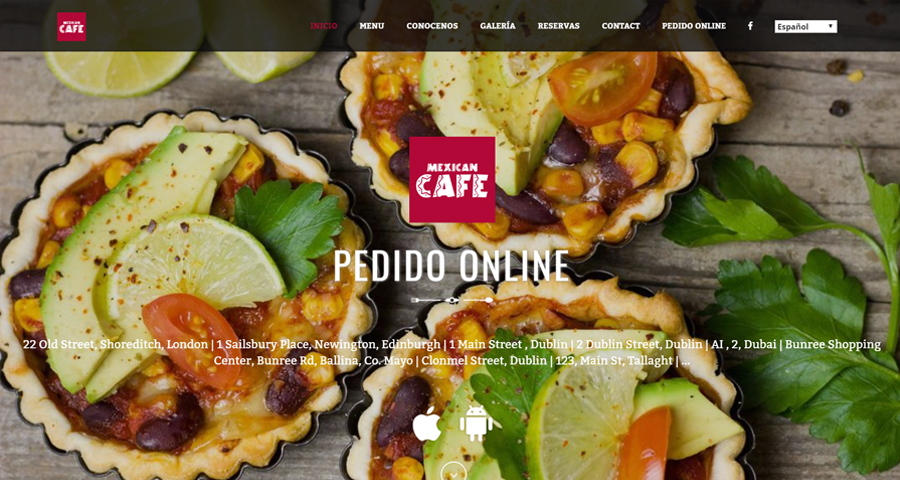 Picture showcasing food ordering website with multiple languages, Spanish displayed in image