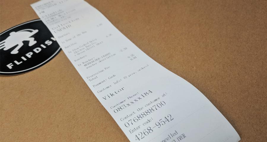 Photo of GDPR Compliant Online Order Receipt