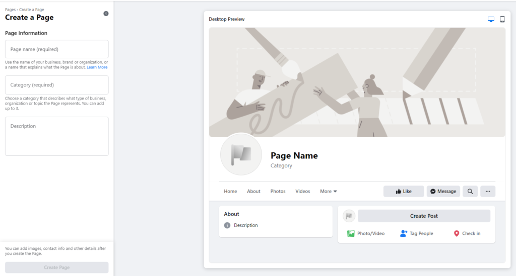 Creating a Facebook page entering your page information