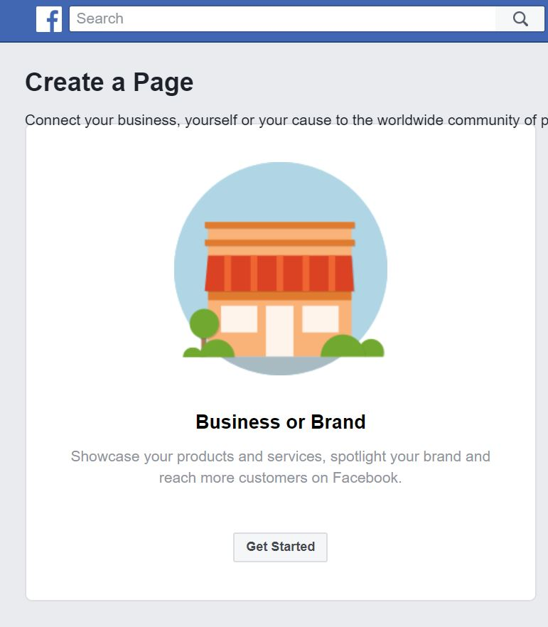 image of Facebook business page for business or brand