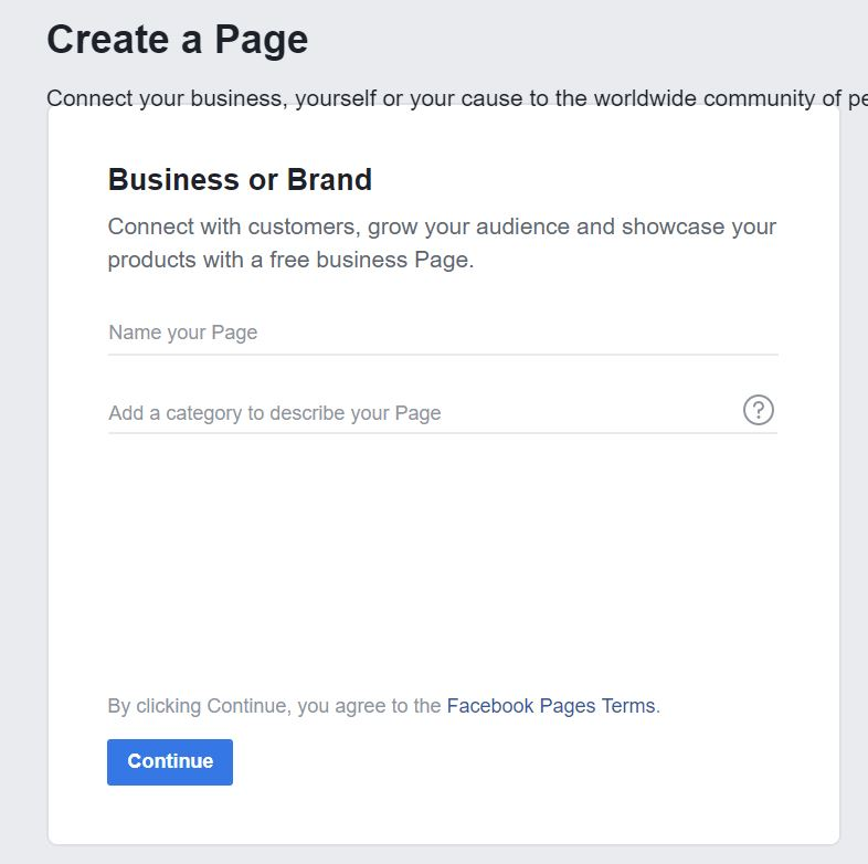 image of name and category detail page for Facebook business page
