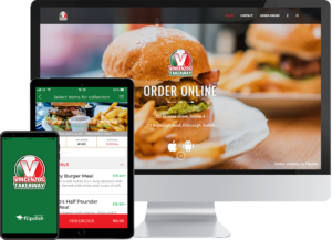 desktop, app and tablet showing a branded takeaway online ordering system