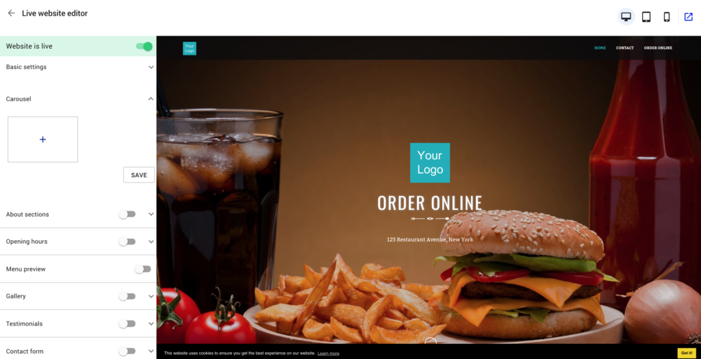 custom restaurant website builder view from back-end
