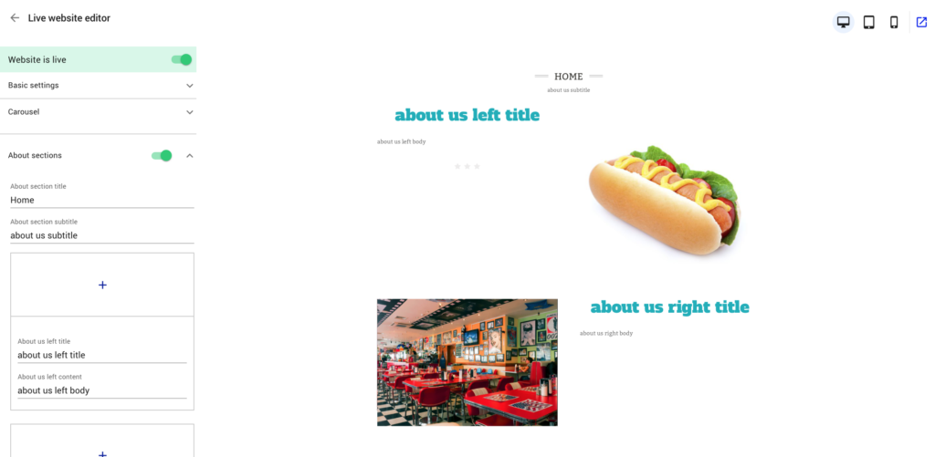 restaurant website builder about you section