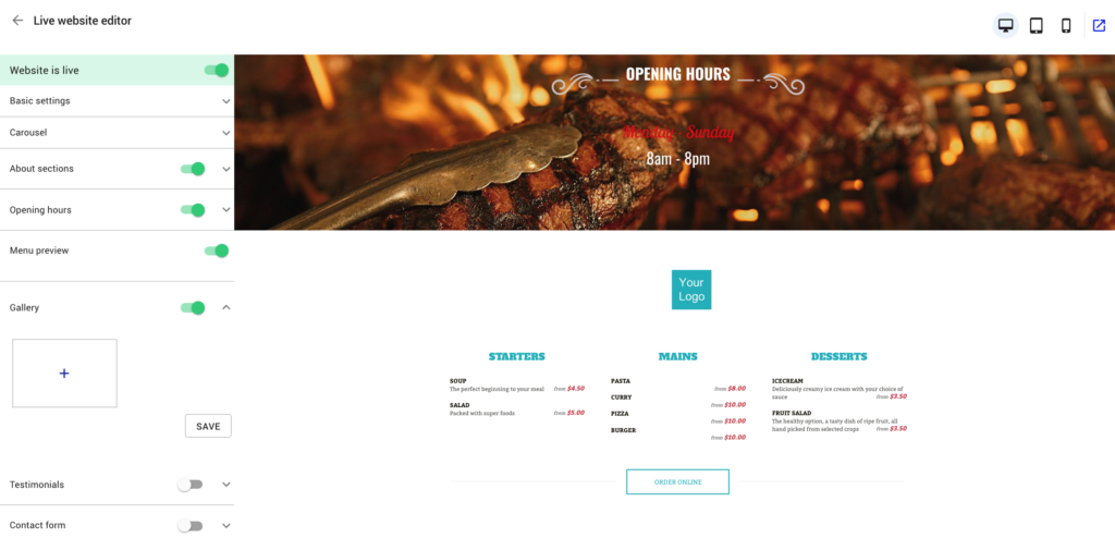 restaurant website builder - menu preview