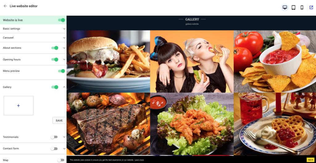 restaurant website builder - photo gallery
