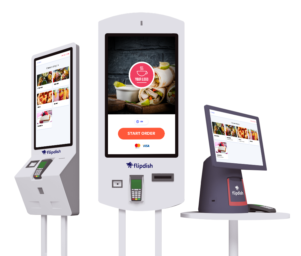 The Flipdish Self ordering kiosks available in three sizes