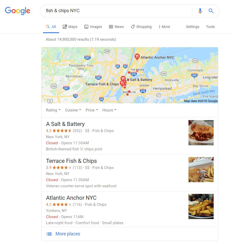 screen shot of a fish and chips Google My Business listing in NYC