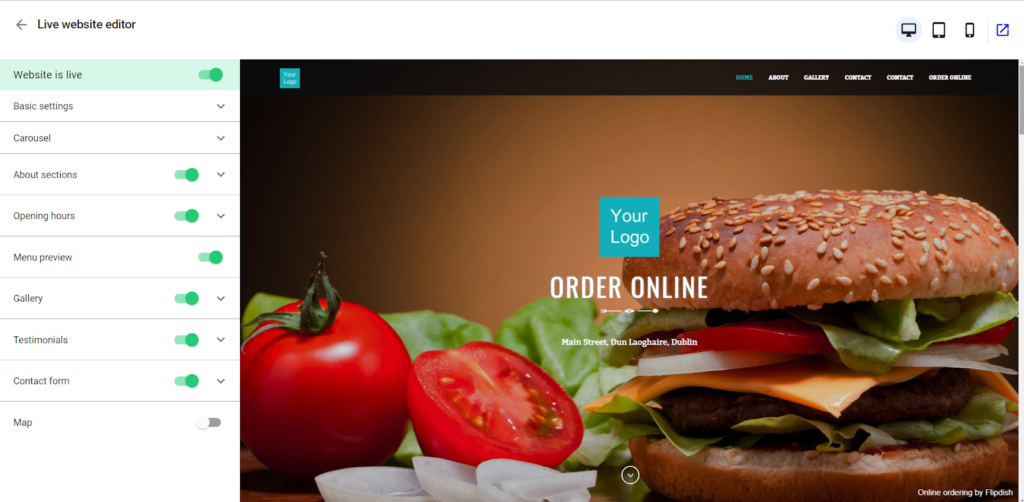 custom website for a restaurant homepage preview in the Flipdish Portal