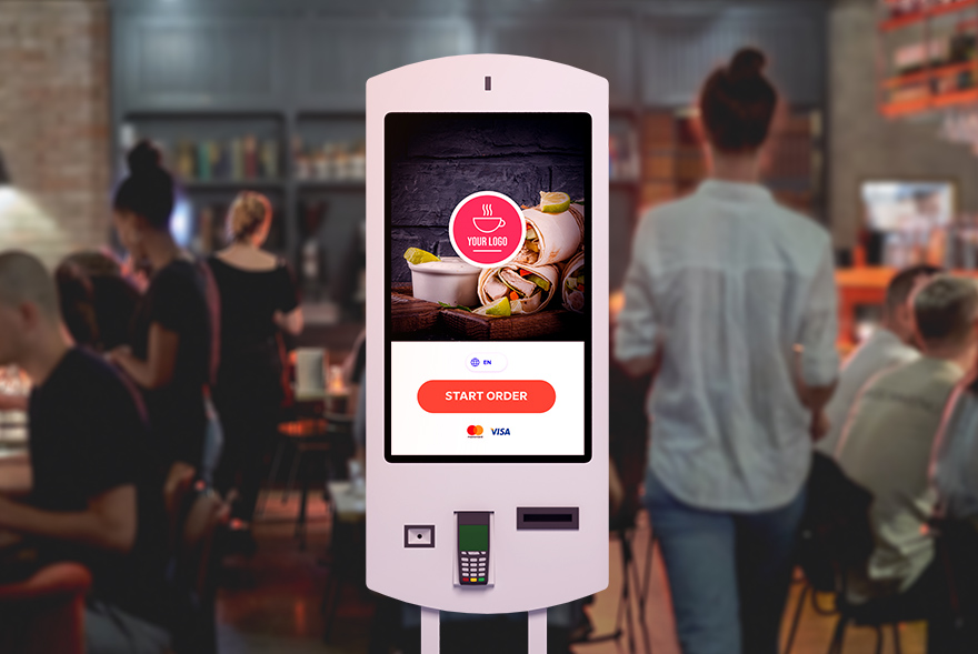 A self service kiosk in a restaurant, example of a restaurant gone digital to boost profits