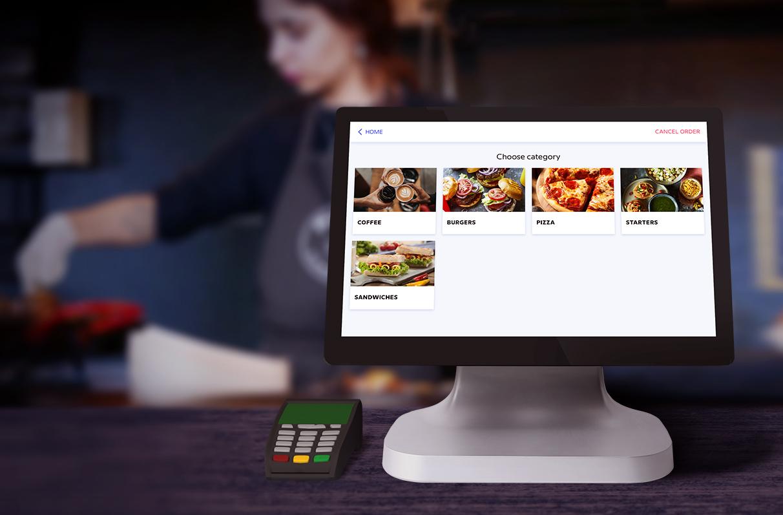 kiosque libre-service pour le système de commande à emporter