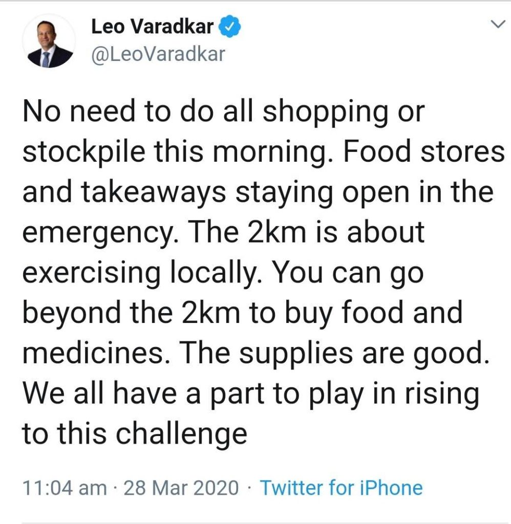 Takeaways and food delivery to stay open,LeoVaradkar