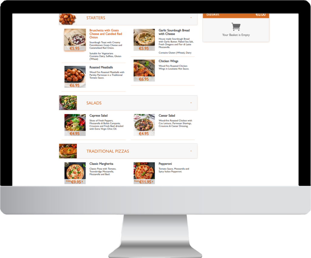 Desktop view of an online menu for delivery and collection