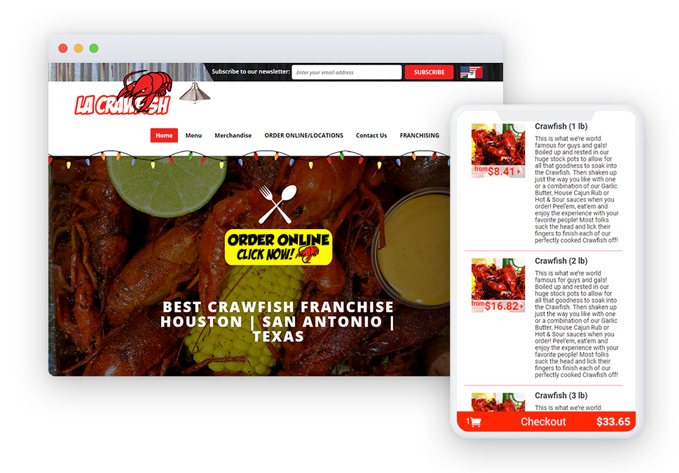 Restaurant chains and franchises reaping rewards at large scale as they move to Flipdish - LA Crawfish Flipdish ordering app and website