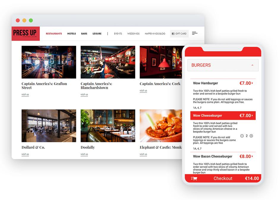 Restaurant chains and franchises reaping rewards at large scale as they move to Flipdish - Press Up Entertainment Group website and the Flipdish ordering app
