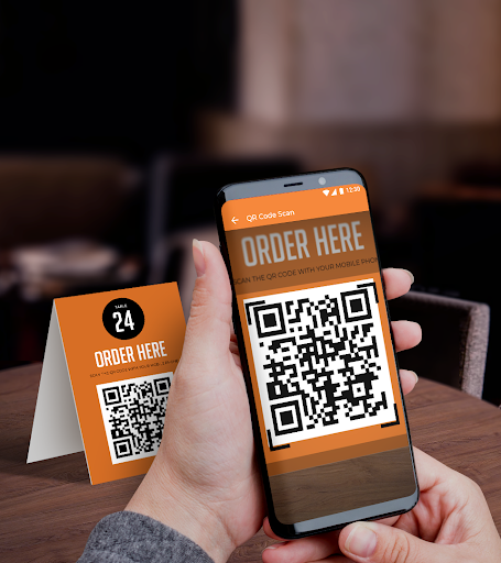 Contactless table ordering in a bar or restaurant