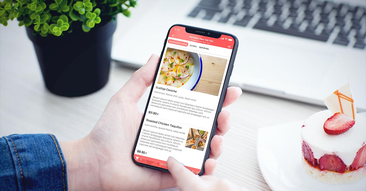 Mobile view of an online menu for delivery and collection