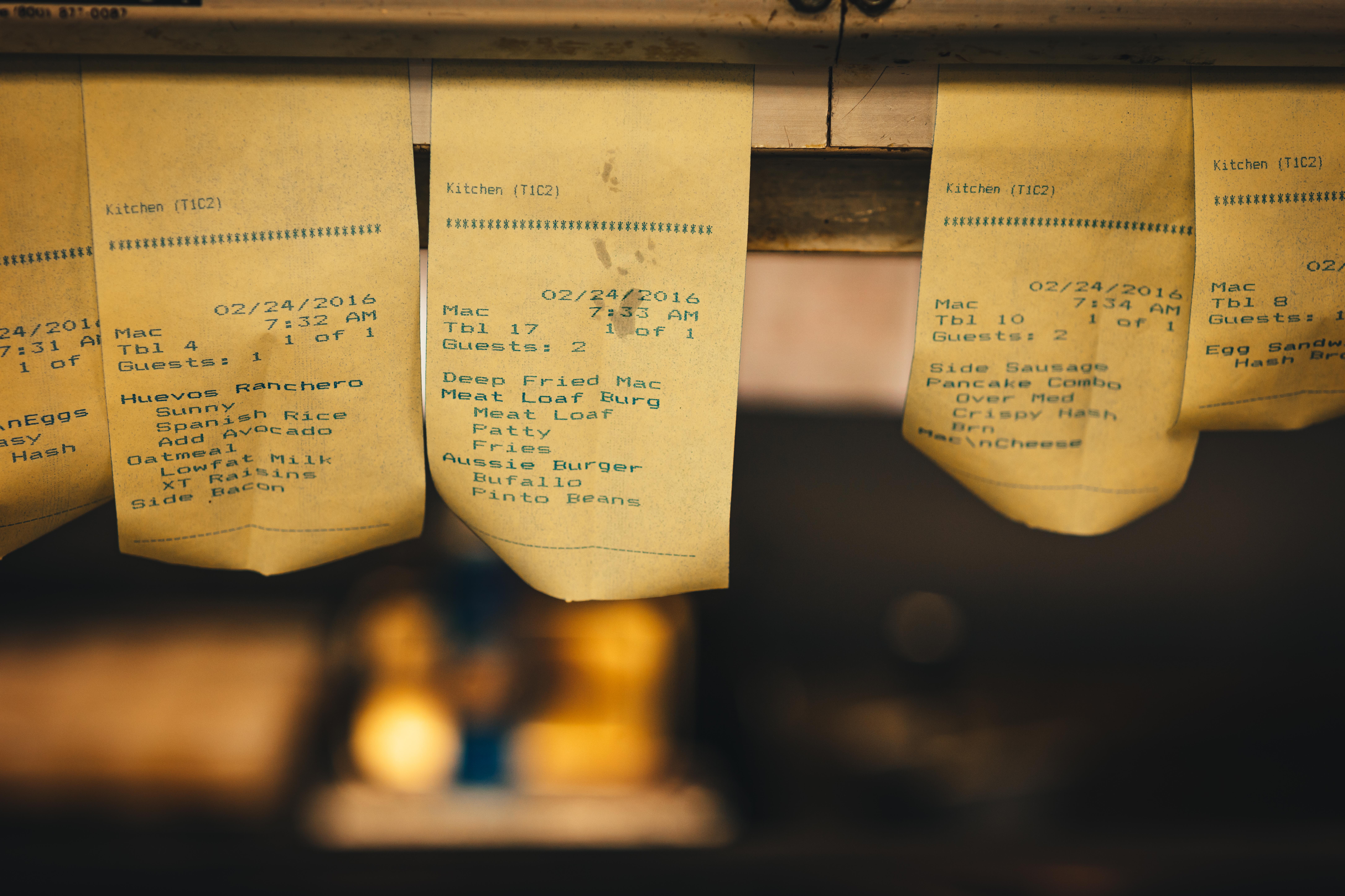 restaurant receipts orders