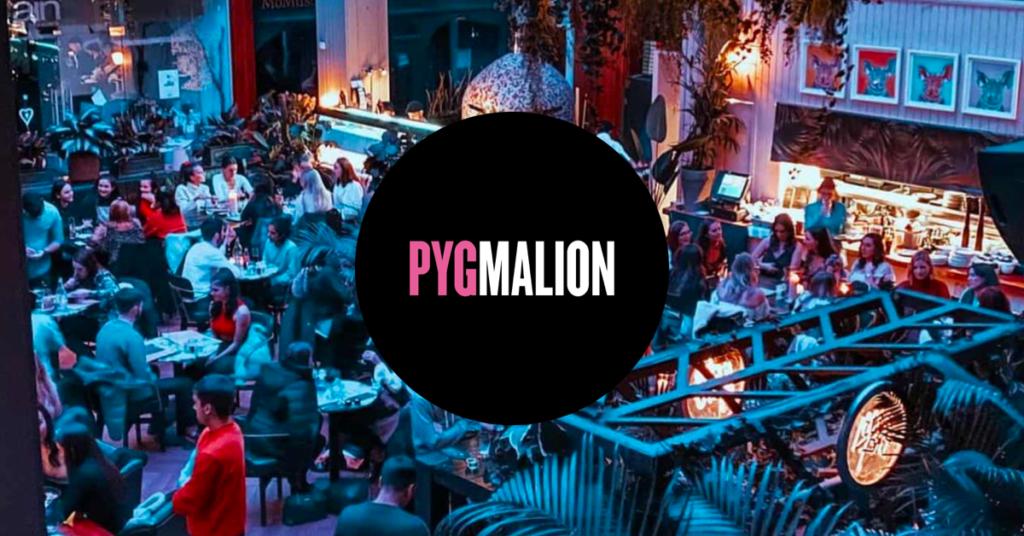 Pygmalion bar and nightclub with logo