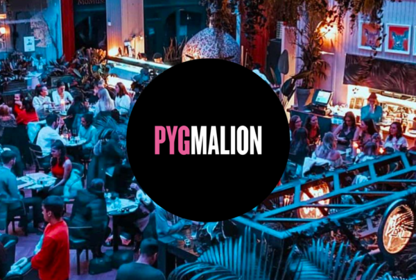 Pygmalion bar and nightclub with logo